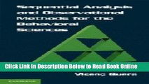 Read Sequential Analysis and Observational Methods for the Behavioral Sciences  Ebook Free