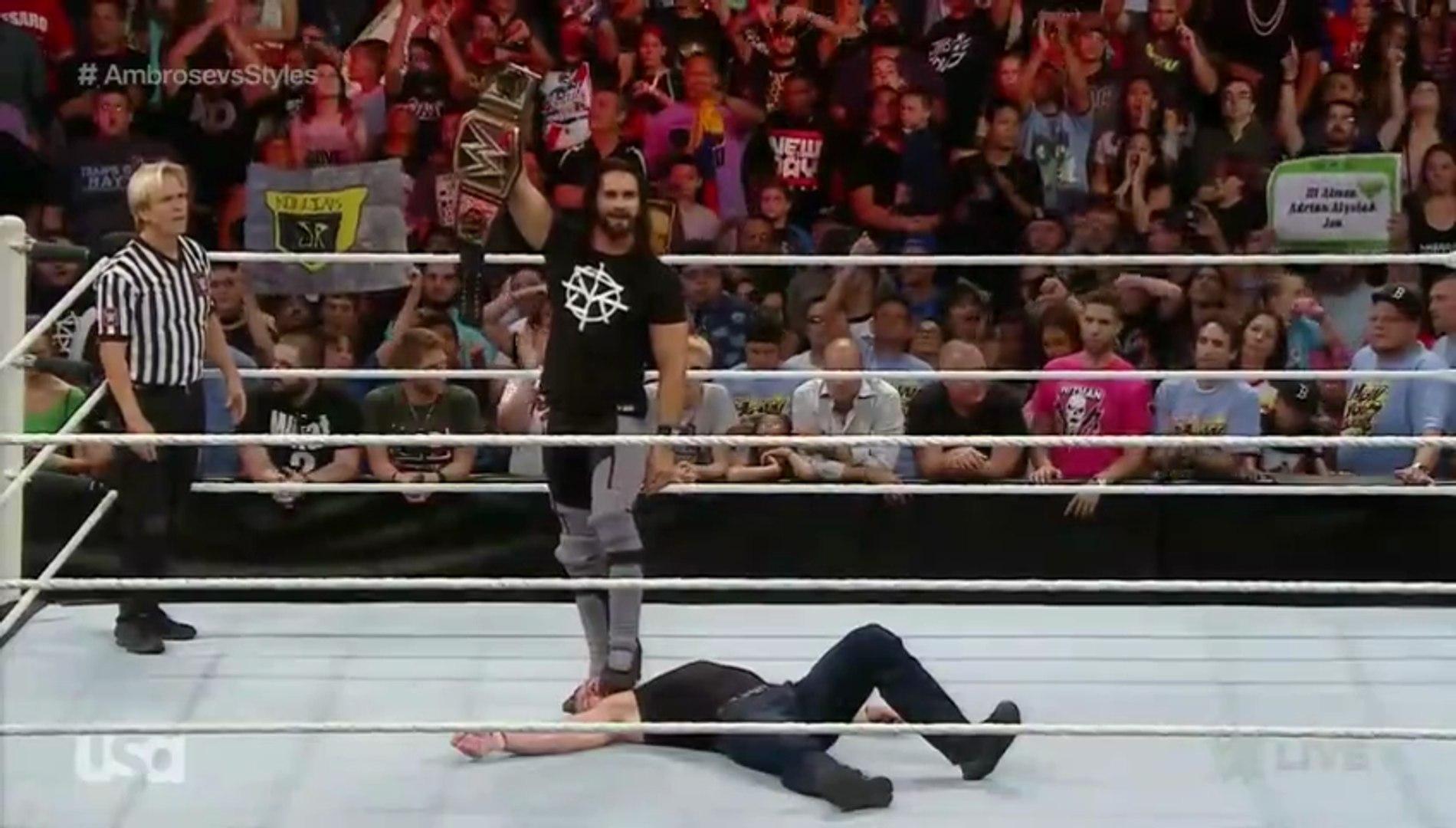 WWE RAW 27th June 2016 – WWE RAW 6/27/16 Dean Ambrose Vs Aj Styles Full Match Main Event!!