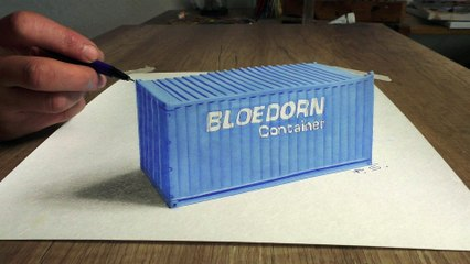 Drawing a Bloedorn container in 3D (speed painting) Optical Illuision