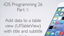 Programming iOS Apps 26 Table Views  Populating Table View with Data