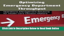 Download Optimizing Emergency Department Throughput: Operations Management Solutions for Health