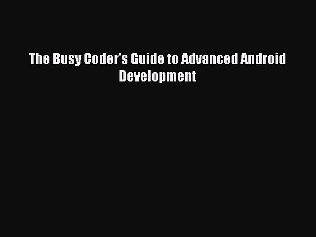busy coders guide to android development pdf