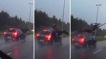 Sur une autoroute de Finlande, un élan est percuté violemment par une voiture