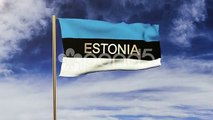 Estonia Flag With Title Waving In The Wind. Looping Sun Rises Style. Animation