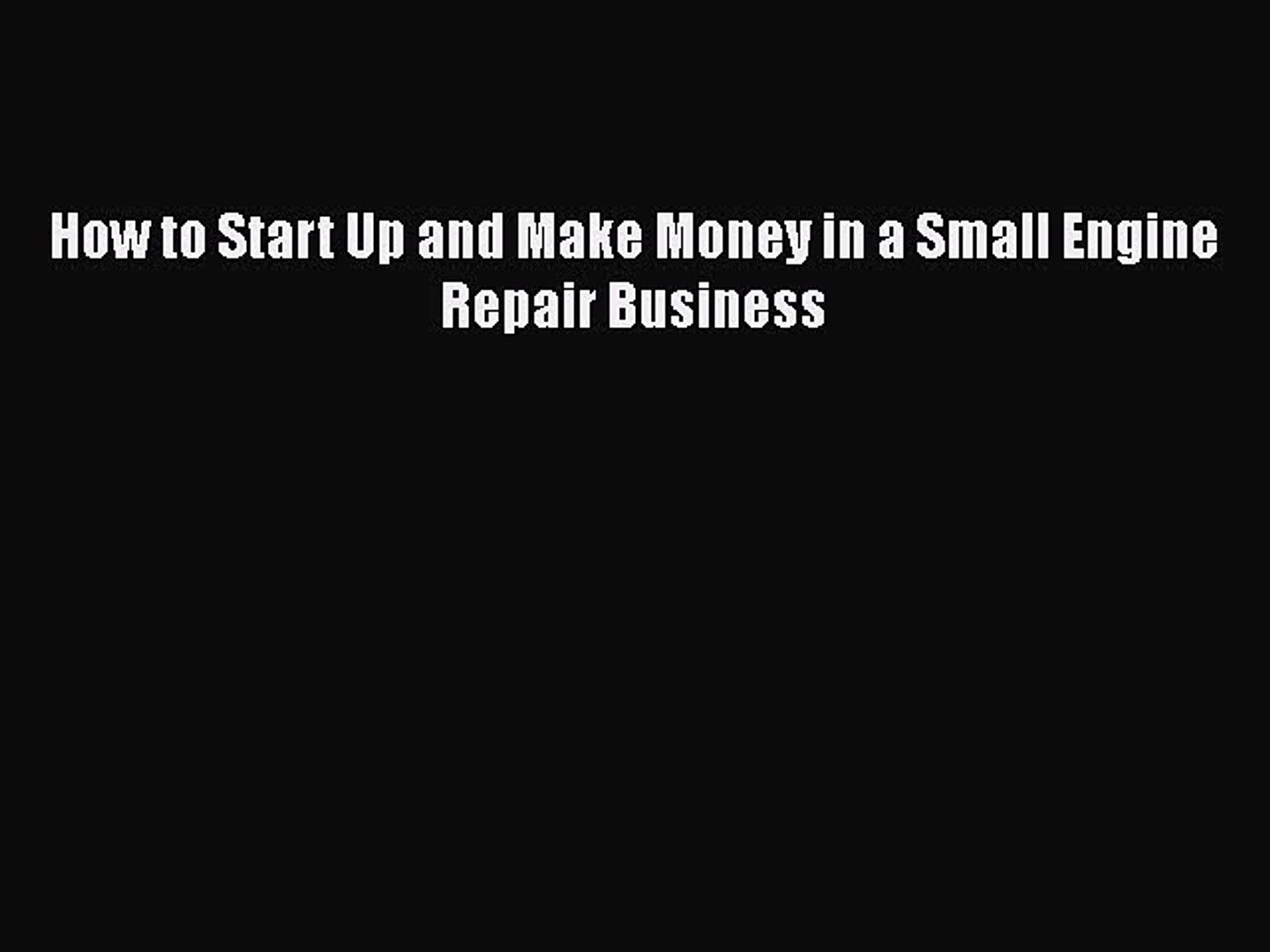Make Money In A Small Engine