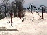 Dad Snowboarding Jumping & Crashing 2-19-2007 at Snow Creek, MO