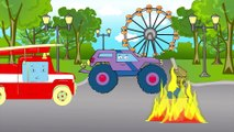 Cars & Trucks Cartoon Police Car and Racing Cars with Fire Truck | Emergency Vehicles for children