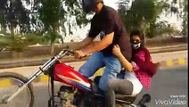 Girl on wheeling -Pakistani talent - awesome - Girl Bike Wheeling  2016