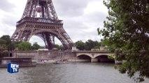 Loi Travail: une banderole de la CGT accrochée sur la tour Eiffel