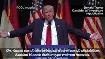 "Trump salue Saddam Hussein pour avoir tué des ""terroristes"""