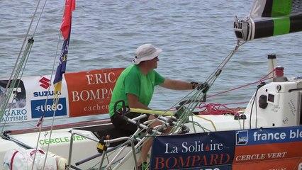 Solitaire Bompard Le Figaro - ETAPE 4 : passage de la ligne - 1er Gildas MORVAN ( Cercle Vert ) - 2éme Nicolas LUNVEN ( Generali )