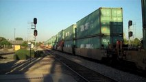A Couple of BNSF Trains in Fullerton, Ca - 8/24/11