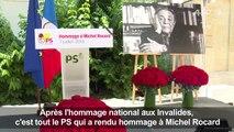 Manuel Valls rend hommage à Michel Rocard au siège du PS