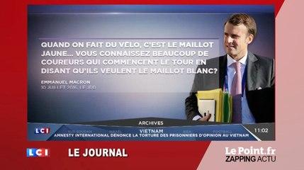 """""""Quand on fait du vélo, c'est le maillot jaune"""", lance Emmanuel Macron - Zapping du 12 juillet"""