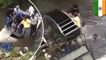 Homme par-dessus bord! Un bateau se renverse et projette le maire dans l'eau d'un égoût