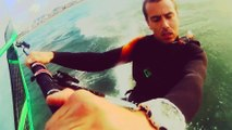 Couché du soleil windsurf planche à voile lion sur mer normandie