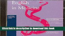 Download English in Medicine Audio CD: A Course in Communication Skills (Cambridge Professional