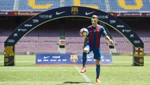 Lucas Digne in a FC Barcelona shirt at Camp Nou