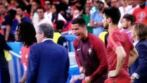 Cristiano Ronaldo Shake his coach Fernando Santos