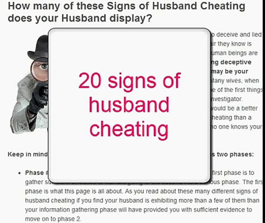 Cheating out husband is when your find you What to