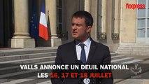 Attentat à Nice: Valls annonce un deuil national les 16, 17 et 18 juillet