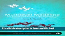 Read Book Multilevel Modeling for Social and Personality Psychology (The SAGE Library of Methods