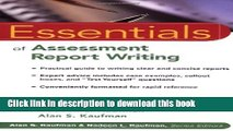 Download Book Essentials of Assessment Report Writing ebook textbooks