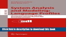 Read System Analysis and Modeling: Language Profiles: 5th International Workshop, SAM 2006,