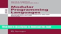Read Modular Programming Languages: 7th Joint Modular Languages Conference, JMLC 2006, Oxford, UK,