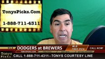 LA Dodgers vs. Milwaukee Brewers Pick Prediction MLB Baseball Odds Preview 6-29-2016