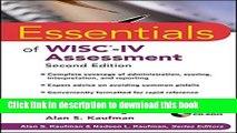Read Book Essentials of WISC-IV Assessment ebook textbooks