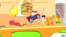 Videos & Cartoons for kids. The Little Racing Car. Racing and Food Obstacles. Gameplay for Children