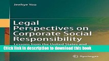 Read Legal Perspectives on Corporate Social Responsibility: Lessons from the United States and