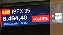 La Bolsa española pierde los 8.500 puntos a mediodía, con una caída del 0,40%