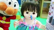 アンパンマン ぽぽちゃん 鼻水出てるよ! 冷蔵庫開けすぎ注意 ティッシュでちーん! Baby Doll Popo Chan