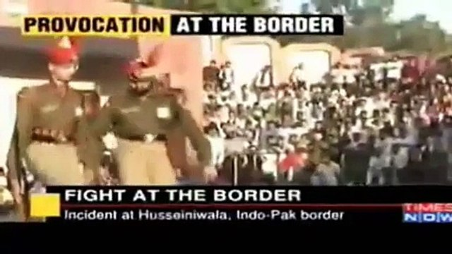 Fight At Wagah Border Between Pakistani Solider and Indian Army Solider