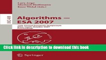 Read Algorithms - ESA 2007: 15th Annual European Symposium, Eilat, Israel, October 8-10, 2007,