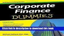 Read Corporate Finance For Dummies  Ebook Free