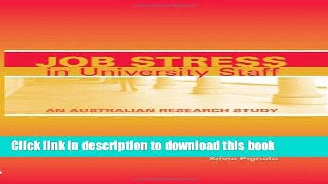 Read Book Job Stress in University Staff: An Australian Research Study PDF Online