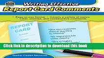 READ Writing Effective Report Card Comments PDF ONLINE
