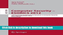 [PDF] Computer Security -- ESORICS 2012: 17th European Symposium on Research in Computer Security,