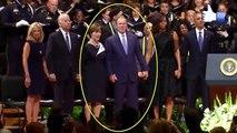 George W Bush dancing like a joker during the Dallas Memorial