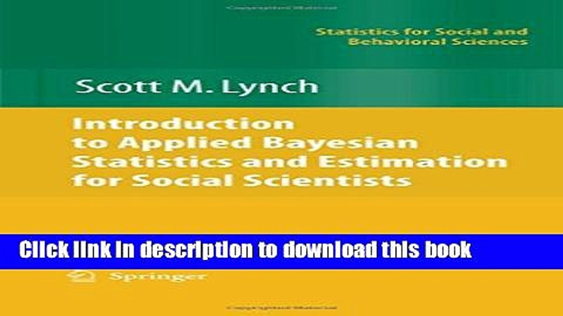 [PDF] Introduction to Applied Bayesian Statistics and Estimation for Social  Scientists [Read] Online
