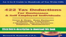 Read Books 422 Tax Deductions for Businesses   Self Employed Individuals (475 Tax Deductions for