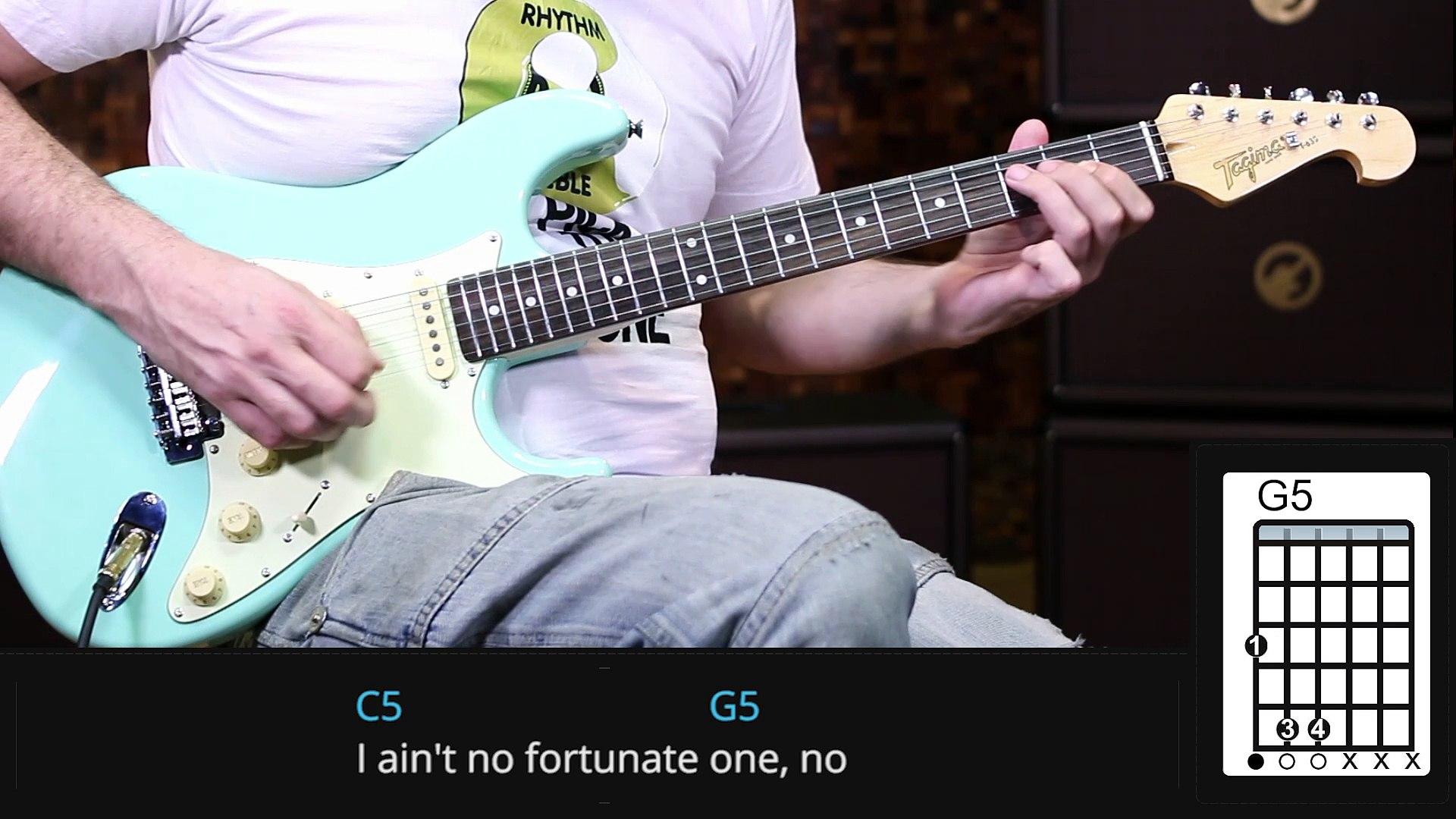Creedence Clearwater Revival - Fortunate Son (como tocar - aula de guitarra )
