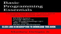 [PDF] Basic Programming Essentials: Learn basic Batch, HTML, C, and G and M code for CNC milling