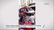 Vídeo mostra resgate de músico atingido por vidraça