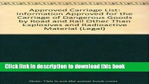 [PDF]  Approved Carriage List: Information Approved for the Carriage of Dangerous Goods by Road