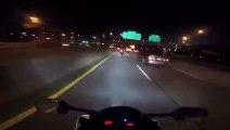 Course sauvage entre une moto S1000RR, une Yamaha R6 et une voiture Audi R8 V10... Des tarés