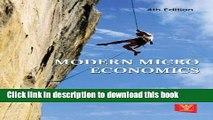Read Books Modern Micro Economics E-Book Free